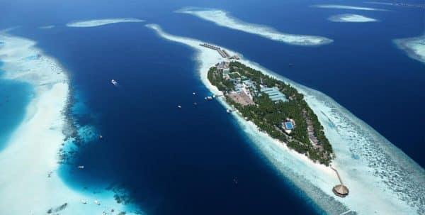 Foto aerea del Vilamendhoo Island Resort